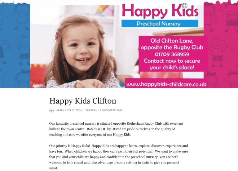 Happy kids Clifton in Rotherham, great Ofsted reports