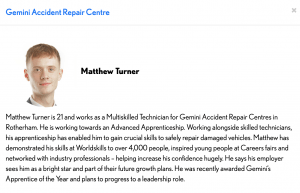 Young Matthew Turner needs your help to win The National Apprenticeship Awards! 'The Rising Star of the Year award'