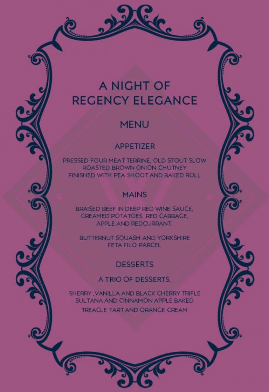 A Night of Regency Elegance menu